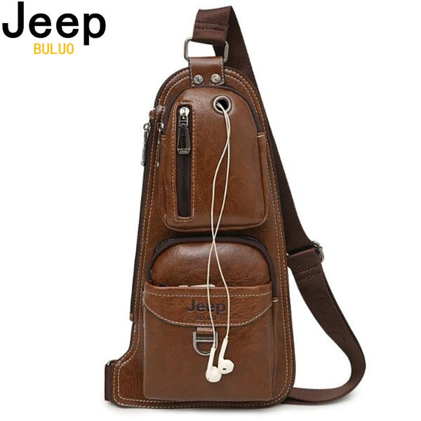 Mens JEEP BULUO Leather Shoulder Sling || Business Casual Travel || Tech Bag for Men | Great Gift for Him!