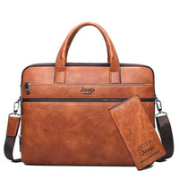 "Leather Mens JEEP BULUO 14"" Laptop Messenger Bag 