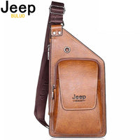 Mens JEEP Buluo Leather Shoulder Travel Bag || High Quality Leather Shoulder Strap Bag || Business Casual - huronshop1