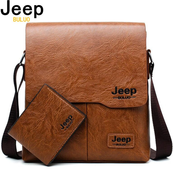 Mens JEEP BULUO Leather Messenger Bag || Sleek Business Casual Styling || Great Quality Office or Home Fashion for Him