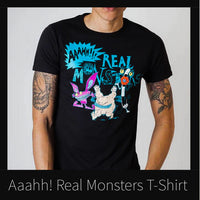 Aaahh!!! Real Monsters Black T-Shirt | Mens or Womens 90s Retro Tee | 1990s Cartoon Throwback - huronshop1