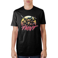 Teenage Mutant Ninja Turtles Sunset Colors Black T-Shirt || Retro 80s 90s TMNT Sun Logo Tee || - huronshop1
