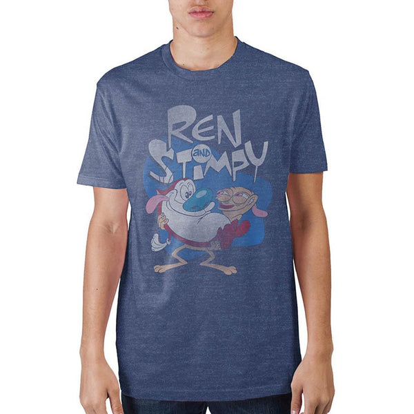 Ren & Stimpy Navy Heather T-Shirt || 90s Cartoon Favorite - Great Gift for Guys! || - huronshop1