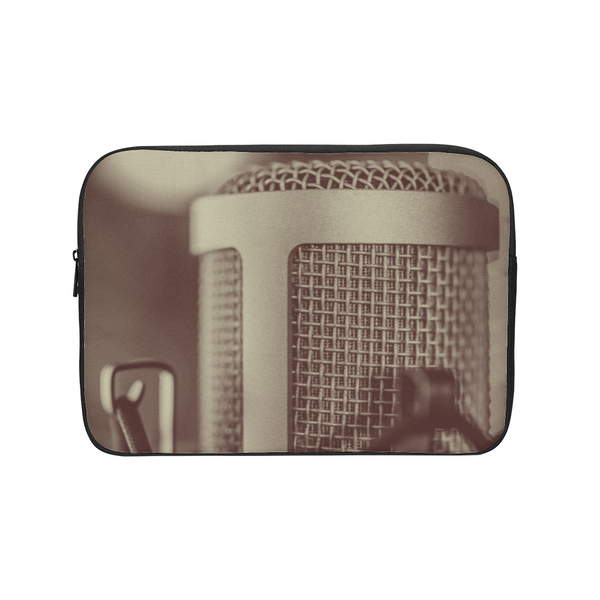 Faded Vocalist: Monochromatic Microphone Design Laptop Sleeve - huronshop1