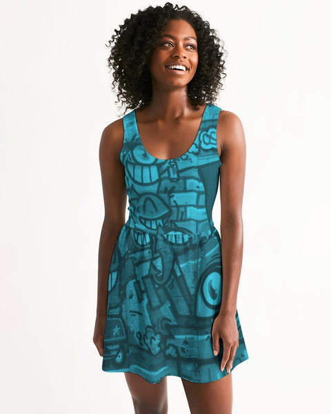 Freaky Fun Graffiti Blues Women's Scoop Neck Skater Dress - huronshop1