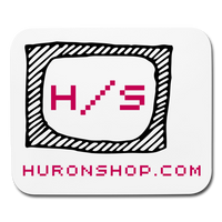 Pink and Black Horizontal Mousepad || HuronShop Logo V8 || - huronshop1