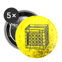 Vinyl Crate on Yellow - Buttons small 1'' (5-pack) - huronshop1