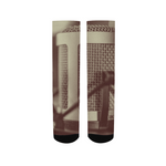 Faded Vocalist: Monochromatic Microphone Design Women's Socks - huronshop1