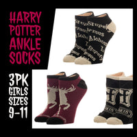 Harry Potter Ankle Socks 3 Pack | Girls Size 9-11 | Harry Potter Accessories - huronshop1