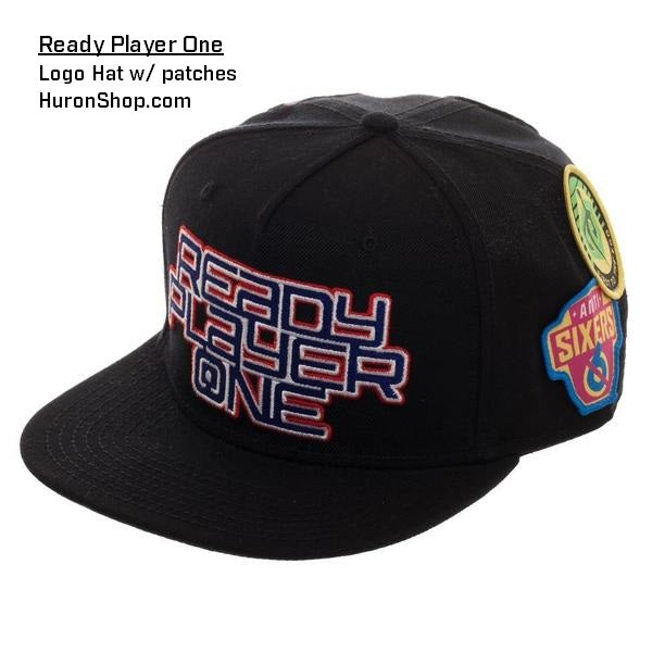 Look! Ready Player One Logo Flat Bill Cap || Patch Black Snapback with Gamer Patches ||  Video Game Movie Action - huronshop1
