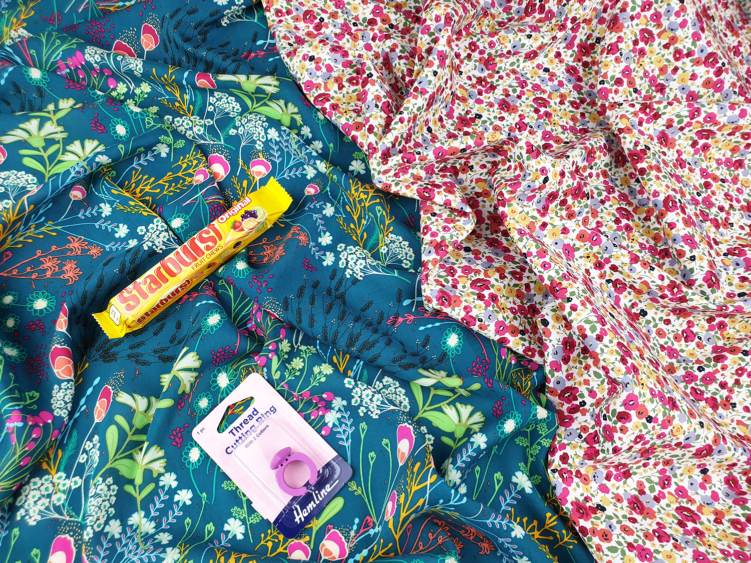 Sewing subscription box with dressmaking fabric