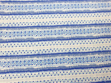 Load image into Gallery viewer, Blue geometric stripe 100% cotton - Per metre
