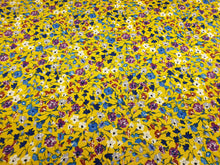 Load image into Gallery viewer, Yellow floral stretch cotton - Per metre