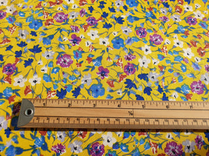 Yellow floral stretch cotton - Per metre