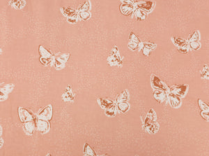 Peach flutterdust butterfly cotton jersey knit by AGF studio - Per metre