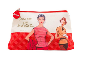 Simplicity 1950s vintage-styled ''Some are just born with it'' red sewing notions/ cosmetics bag