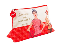 Load image into Gallery viewer, Simplicity 1950s vintage-styled ''Some are just born with it'' red sewing notions/ cosmetics bag