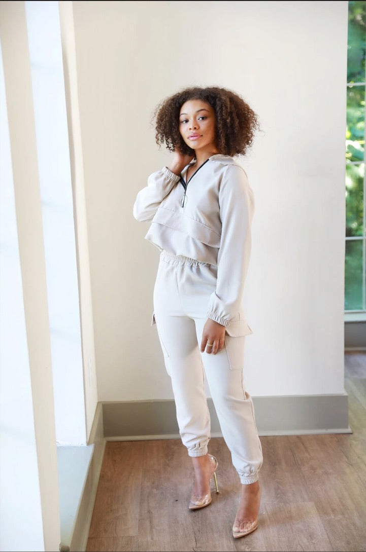 Stone Cropped Jogger Set - Modern Ruth