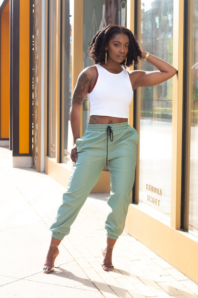 Lime Leather Joggers - Modern Ruth