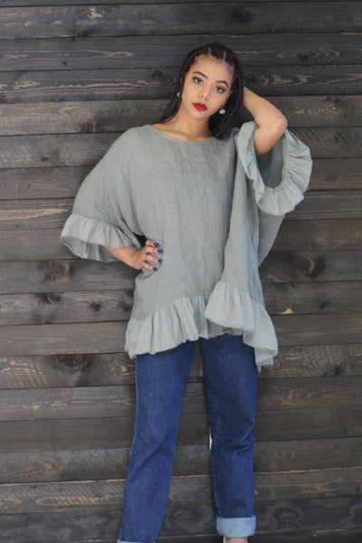 Meet Me Downtown Oversized Blouse (Olive) - Modern Ruth