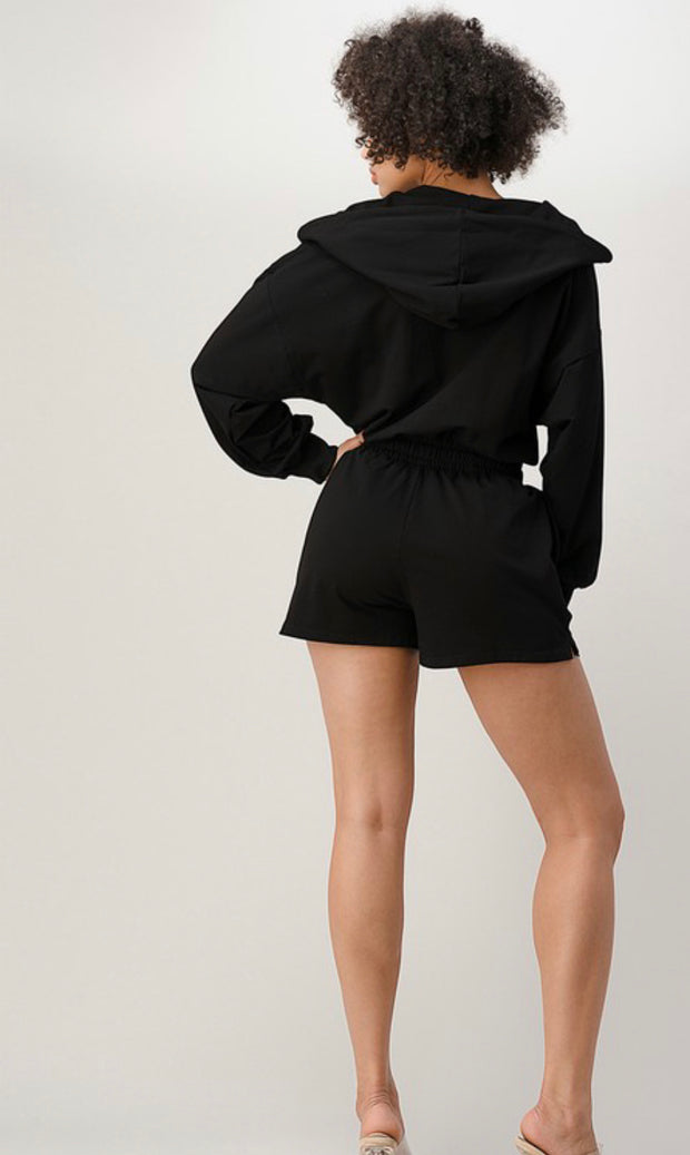 Black Valarie Hooded Romper - Modern Ruth