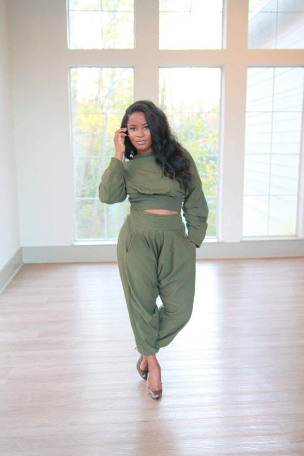 Olive Harem Pants Set