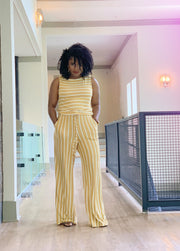 Mustard Stripped Jumpsuit - Modern Ruth