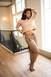 Chocolate Leather Joggers - Modern Ruth
