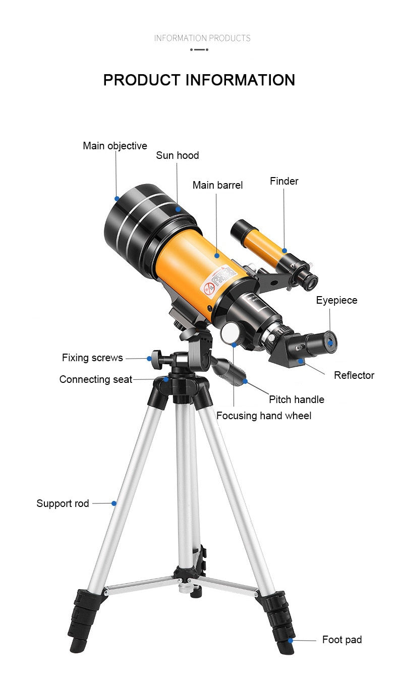 Professional Stargazing Telescope With Portable Tripod