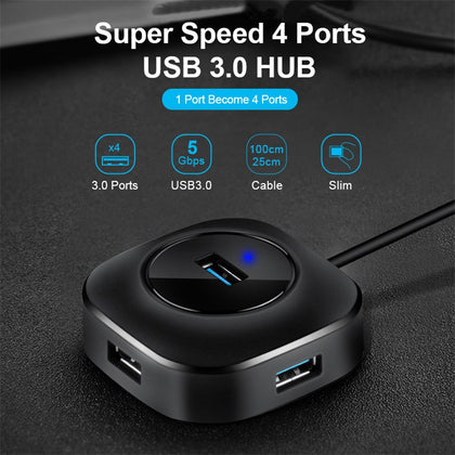 All In One Portable Multi USB Hub, 3.0 Micro 4 Ports High Speed Splitter