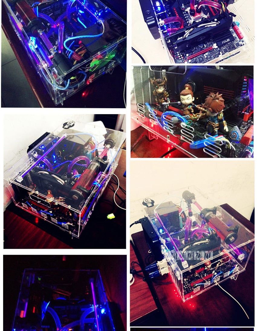 DIY Transparent Acrylic Desktop PC Computer Chassis Case