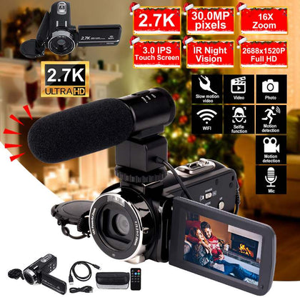 2.7K Video Camcorder Wifi IR Night Vision 30MP 3.0 Inch LCD HD Screen