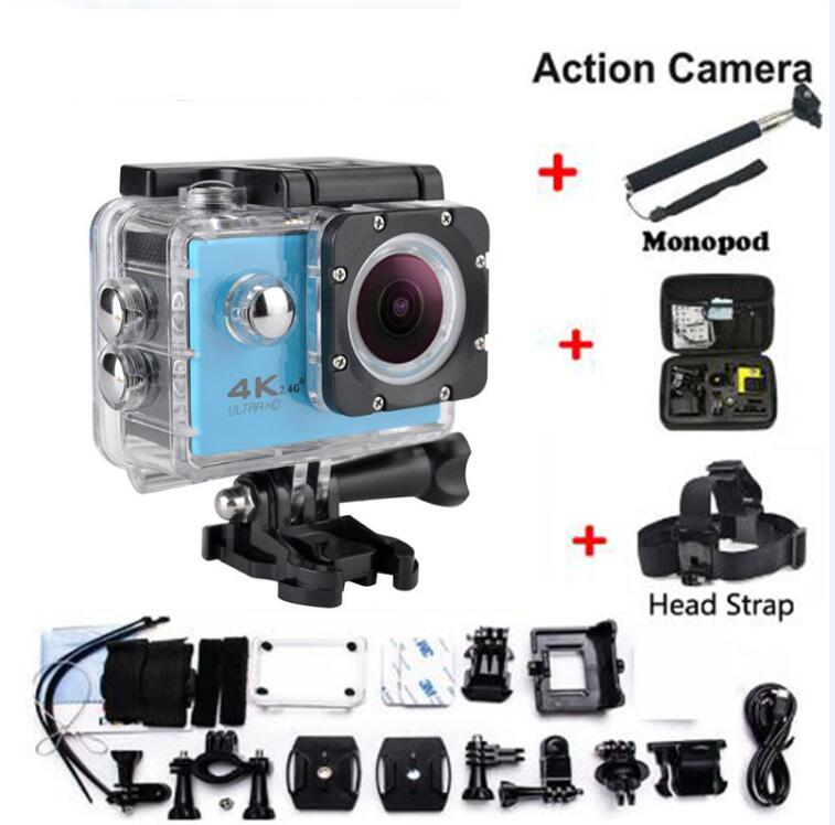 Go Pro HD Action Camera with extra head strap + bag + Monopod