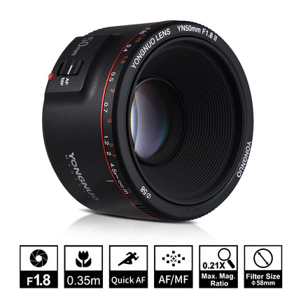 YN50mm F1.8 II Large Aperture Auto Focus Lens for Canon  EOS 70D 5D2 5D3 600D DSLR Camera