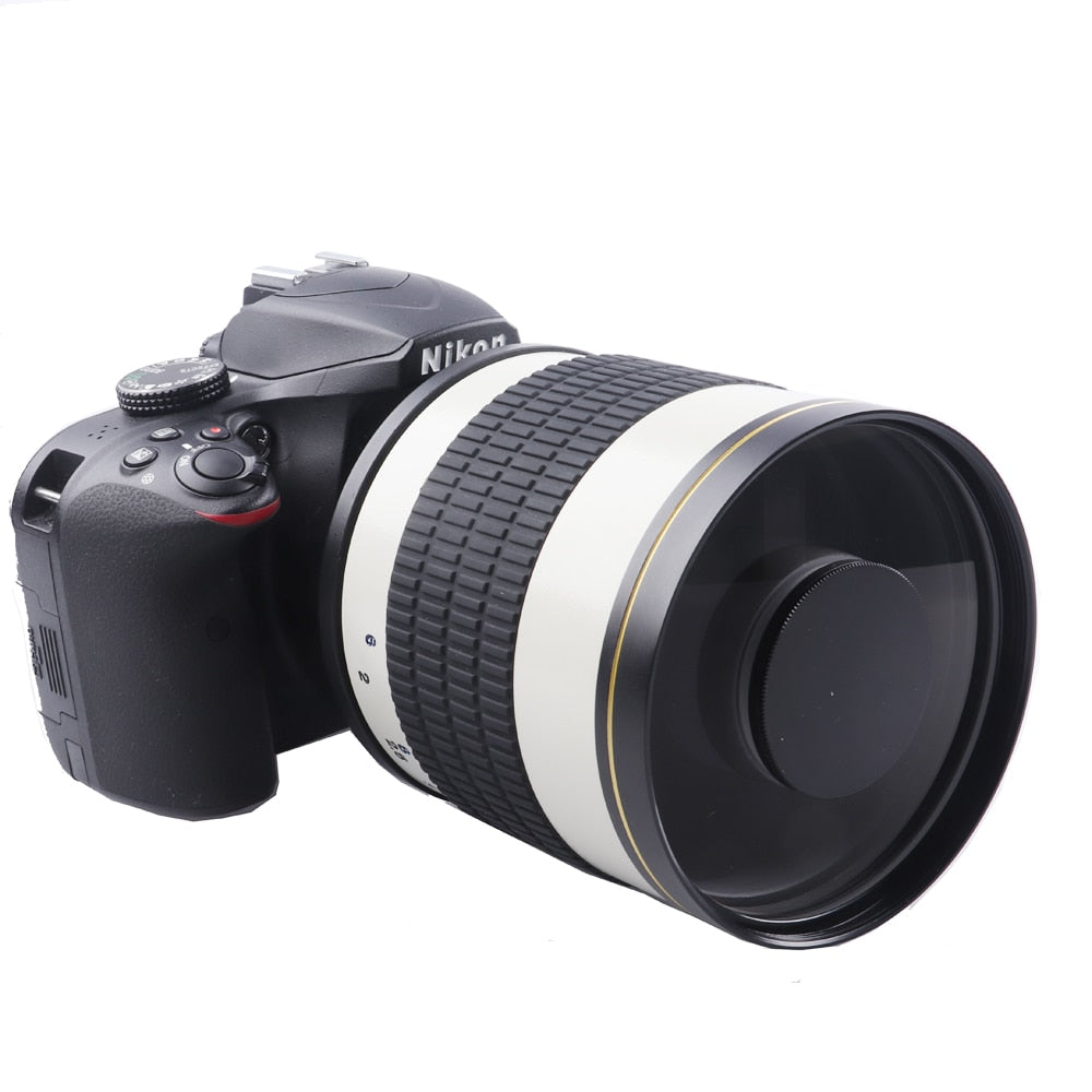 White 500mm F6.3 Manual Fixed Focus Telephoto Mirror Lens + T2 Mount Adapter Ring for Canon Nikon Pentax Sony DSLR