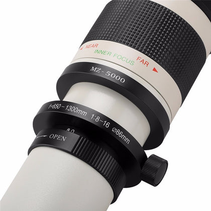 650-1300 MM F/8.0-16 Super Telephoto Zoom Lens + T2 Adapter for any  DSLR Camera