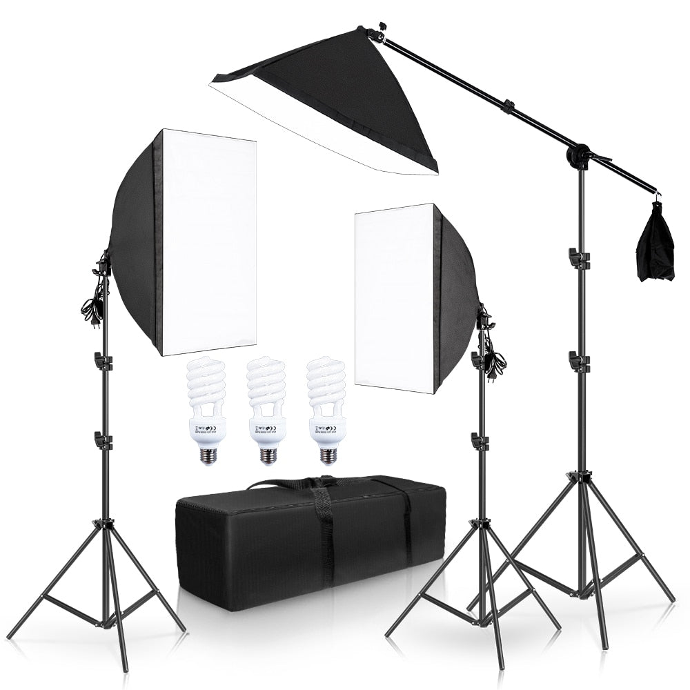 Photography Softbox Lighting Kit With Cantilever Frame Support System