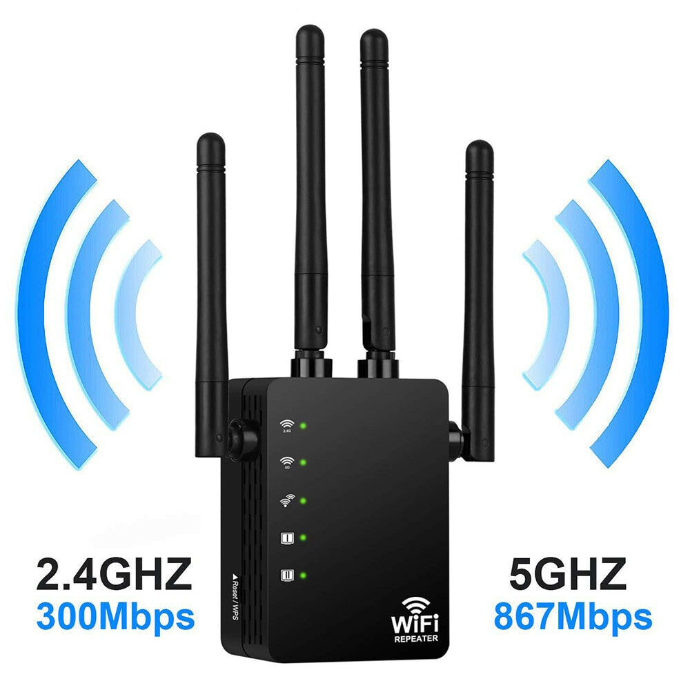 Wireless Wifi Repeater Router 300/1200Mbps Dual-Band 2.4/5G 4 Antenna Wi-Fi Range Extender