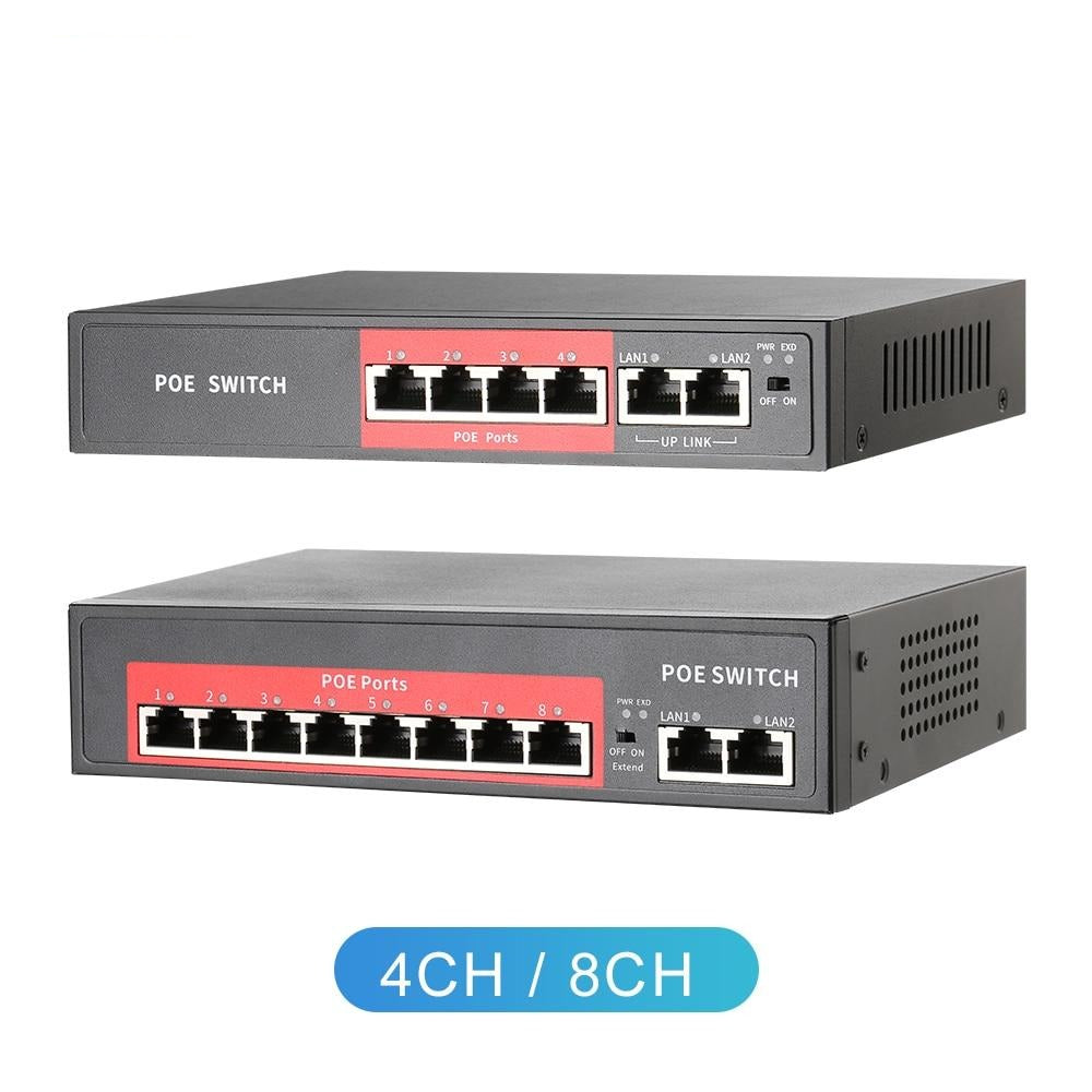 48V Network POE Switch With 4/8 10/100Mbps Ports