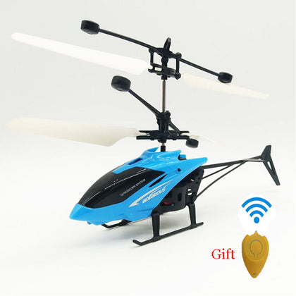 Kids Mini RC Helicopter with Remote Control Suspension Induction LED Light