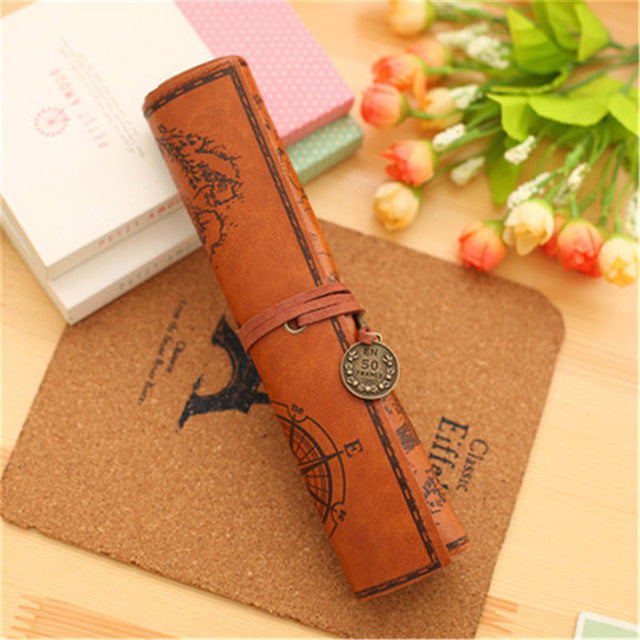 Creative PU Leather Treasure Map Pencil Cases