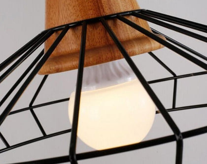 Vintage Iron Wood Indoor Pendant Lamp