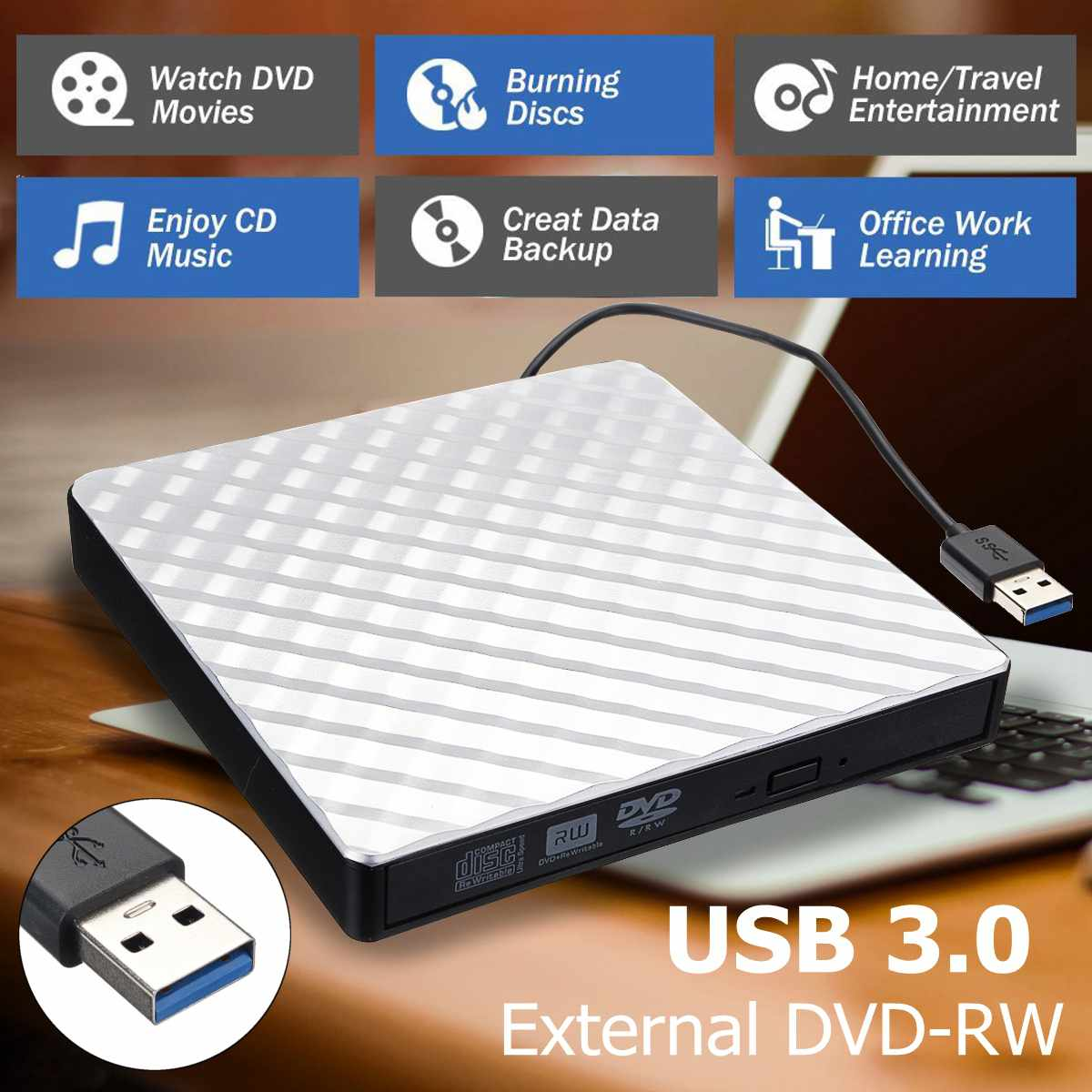External USB 3.0 DVD RW CD Writer Slim Carbon Grain Drive