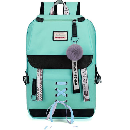 Canvas USB School Bag Teens