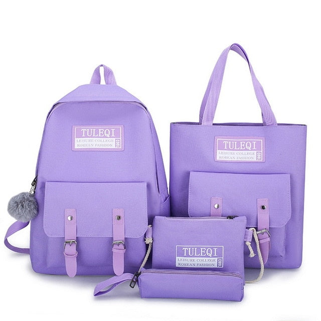 5 Piece Set Canvas Backpack