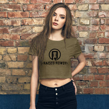 Load image into Gallery viewer, Black Print Logo Women's Crop Tee