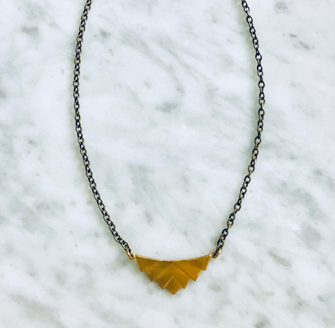 ZOE AZTEC BRASS PENDANT NECKLACE