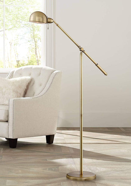 MINK BRUSHED BRASS PHARMACY FLOOR LAMP