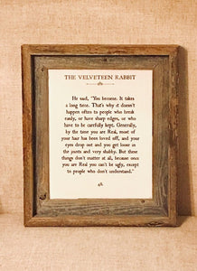 """THE VELVETEEN RABBIT"" BARNWOOD SIGN"