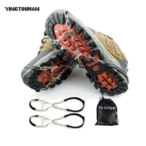 YINGTOUMAN 6-teeth Ice Claw Anti-Slip Ice Gripper Outdoor Climbing Shoe Chain  Cleats Shoe Grip Crampon Chain Spike Snow